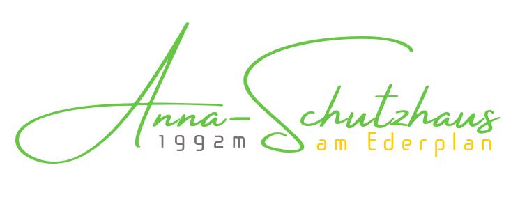 Logo des Anna-Schutzhauses - Grüngelber Schriftzug